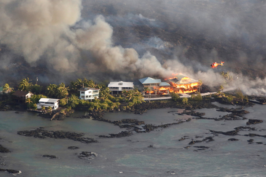 Aerial footage shows entire Hawaiian neighborhood devoured by lava (VIDEO)