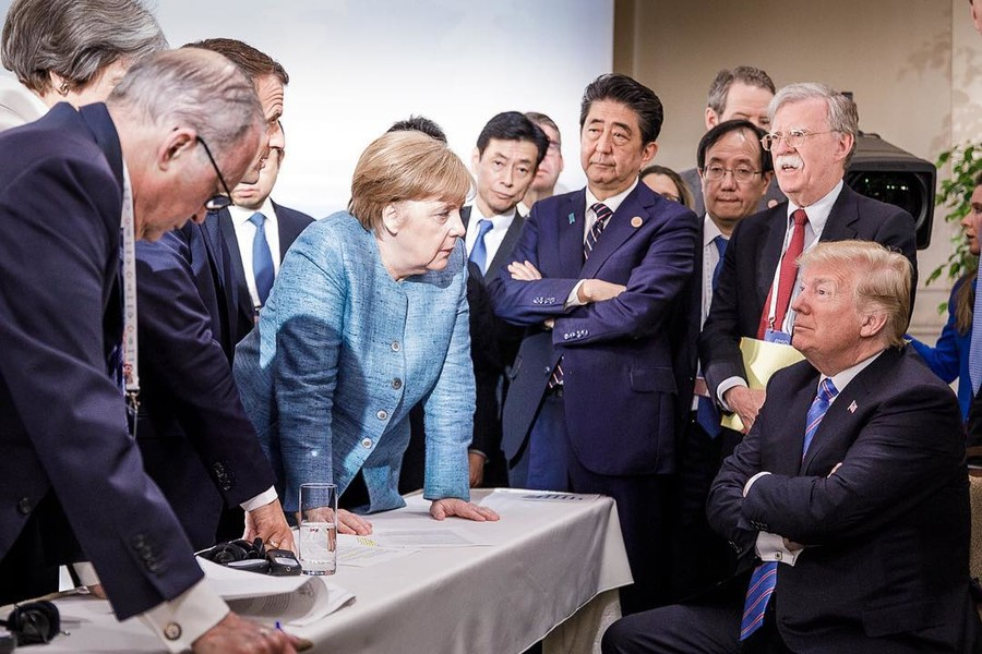 Trump v the world : G7 summit photo sparks meme frenzy