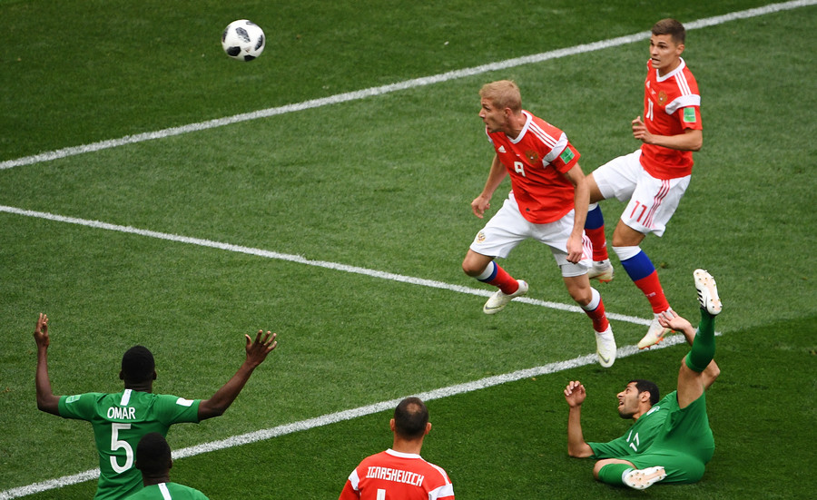 Yuriy Gazinsky scores for Russia © Alexander Vilf / Sputnik