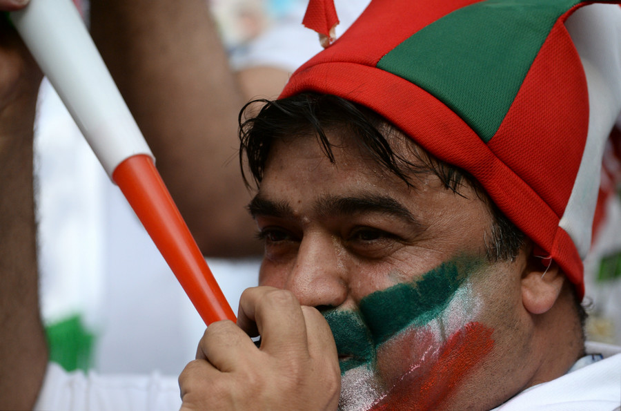 An Iranian fan supporting his team at the World Cup game between Iran and Morocco