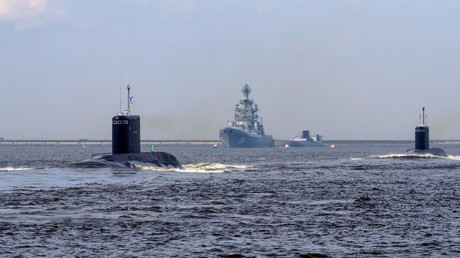 FILE PHOTO: Pyotr Velikiy battlecruiser and Dmitry Donskoy nuclear submarine © Aleksey Danichev