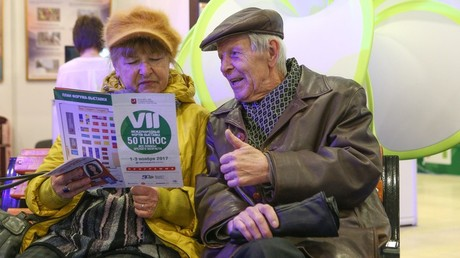 Russian elderly couple visits the