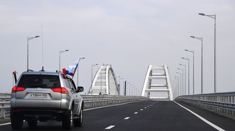 Car traffic on the Crimean Bridge's freeway section. ©Alexandr Polegenko