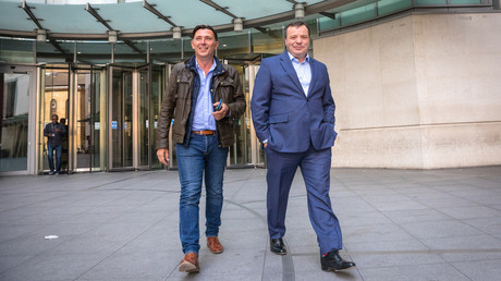 FILE PHOTO: Andy Wigmore (L) and Arron Banks (R) are seen leaving BBC office on April 23, 2017. © Rob Pinney