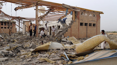 People inspect damage at an MSF facility after it was hit by an airstrike ©