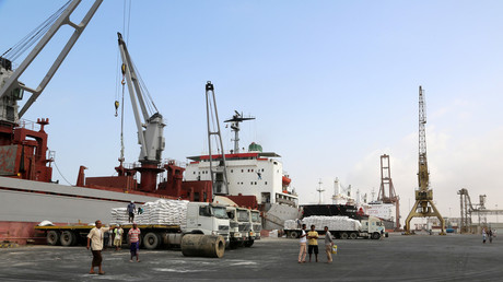FILE PHOTO: A crane unloads food aid provided by UNICEF at the port of Hodeida © Abdo Hyder