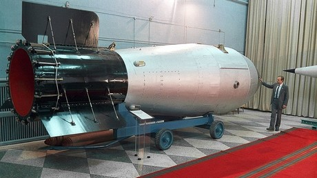 The world's most powerful thermonuclear bomb (up to 100 megatonnes) is displayed in the museum of nuclear weapons in the Russian Federal Nuclear Center in the Nizhny Novgorod Region © RIA Novosti