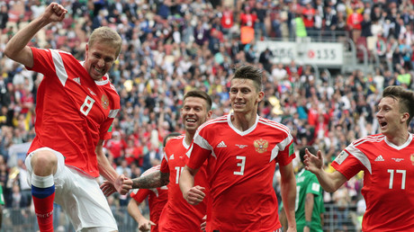 Russian players celebrate goal against Saudi Aarabia © Ramil Sitdikov