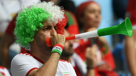 An Iranian fan at Morocco - Iran World Cup game in St. Petersburg © Alexey Danichev