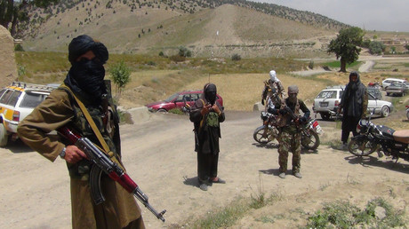Fighters with Afghanistan's Taliban militia