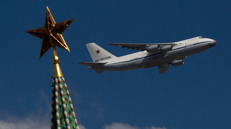 The Antonov An-124 'Ruslan' heavy transport aircraft of Russian Air Force flies over the Moscow's Kremlin © Leonid Faerberg