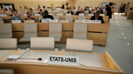 Empty seats of the US delegation at the Human Rights Council session in Geneva, Switzerland. June 20, 2018 © Denis Balibouse / Reuters.