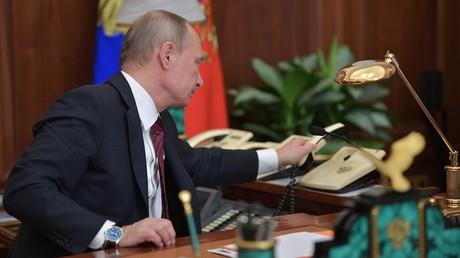 Russian President Vladimir Putin after his telephone conversation © Alexei Druzhinin