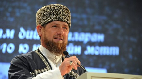 Head of Chechnya Ramzan Kadyrov speaks at the Grozny State Concert Hall on the Chechen Language Day © Said Tsarnaev