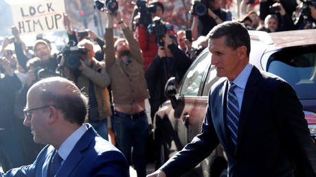 Former US National Security Adviser Michael Flynn departs after a plea hearing at a District Court in Washington, December 2017 © Jonathan Ernst