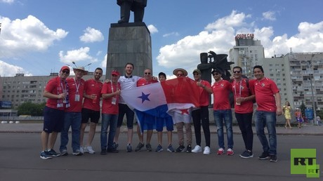Panama & England fans mix on Nizhny Novgorod's Lenin Square ahead of World Cup encounter