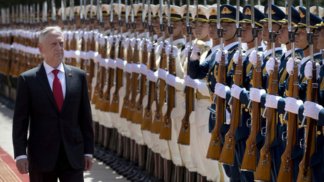 Defense Secretary Mattis during a welcome ceremony in Beijing © Mark Schiefelbein / pool via Reuters