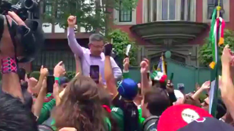 Grateful Mexicans party with South Korean ambassador after Germany World Cup exit (VIDEO)