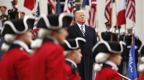 US President Donald Trump reviews the Old Guard Fife and Drum Corps, Washington, US, April 24, 2018 © Kevin Lamarque