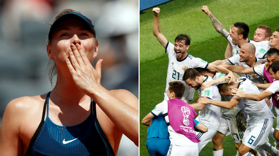 'Well done guys!' Tennis star Sharapova congratulates Russia on stunning World Cup win over Spain