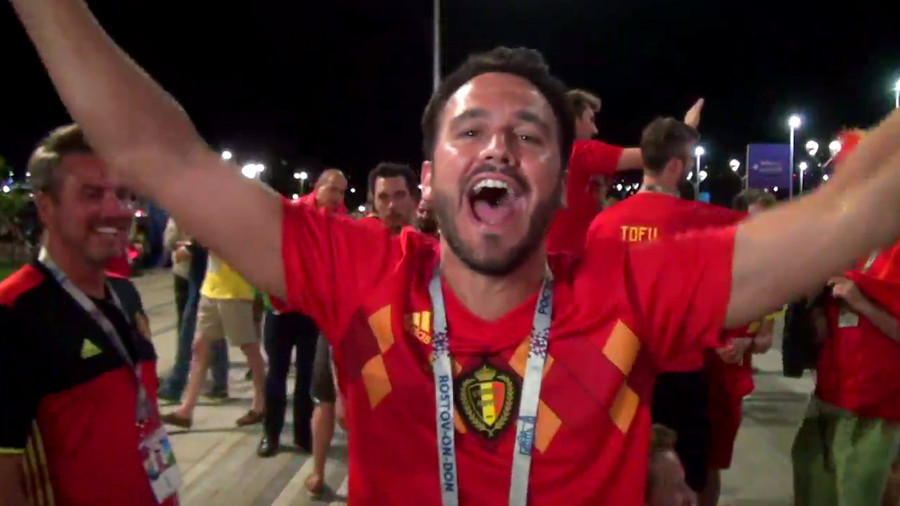 'I'm sorry my wife, I stay here, I love Russia!' Ecstatic Belgian fan after late victory