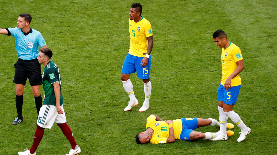 'Play-actor' Neymar has spent 14 mins lying on the pitch at Russia World Cup