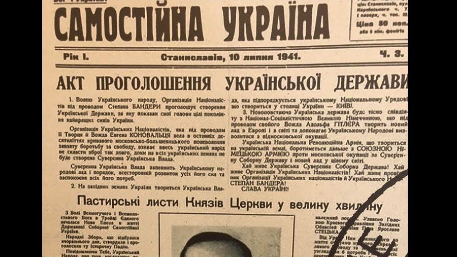 Ukraine parliament proudly displays 1941 independence act pledging allegiance to Hitler