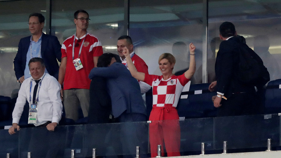 Croatia's president wins fans with show of VIP zone passion (but Russia's PM looks unimpressed)