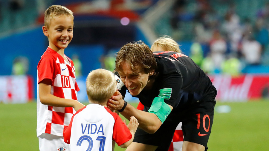The kids are all right! Croatian players' children help celebrate World Cup QF win on pitch