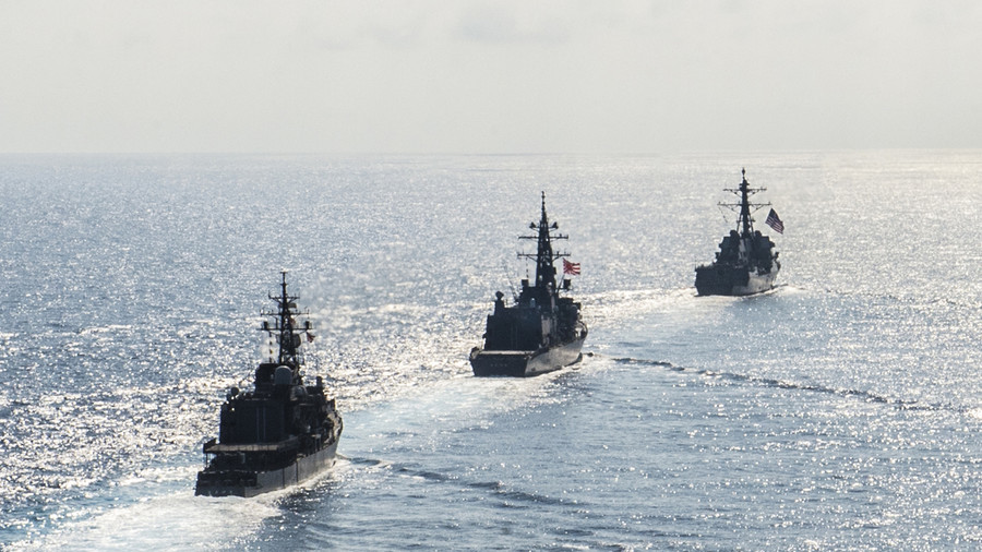 U.S. Navy warships sail through Taiwan Strait