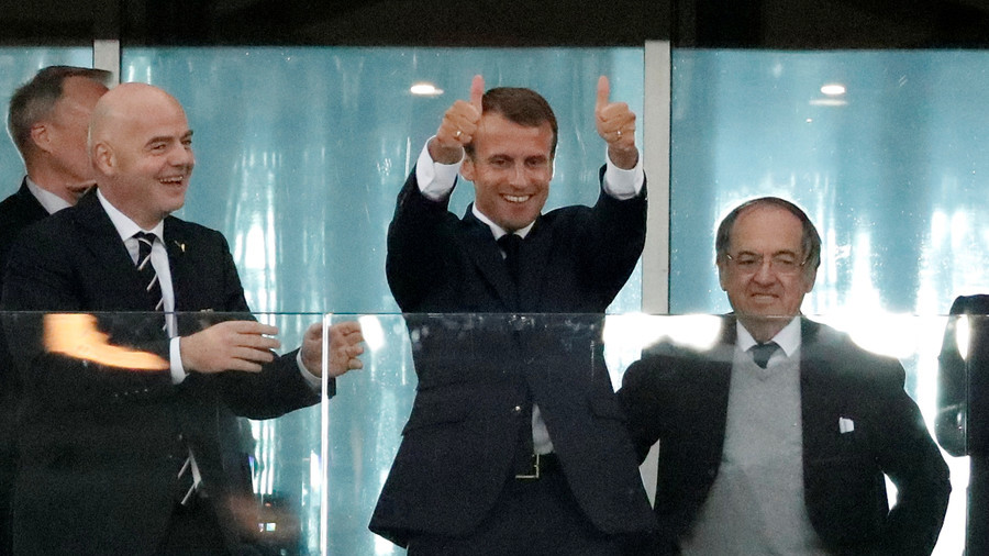 French President Emmanuel Macron celebrates Umtiti opener in St. Petersburg semi-final