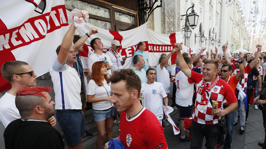England & Croatia fans mass in Moscow ahead of World Cup semi-final