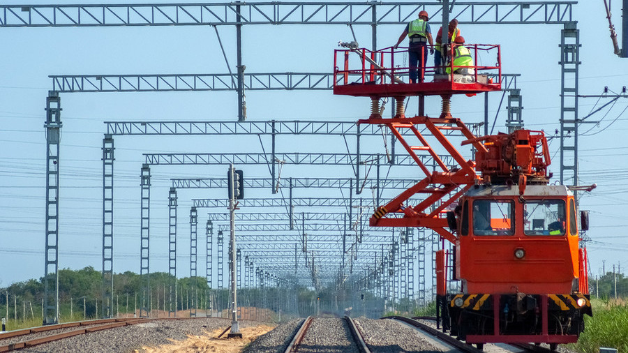 On track: Train link to Crimean Bridge is almost complete