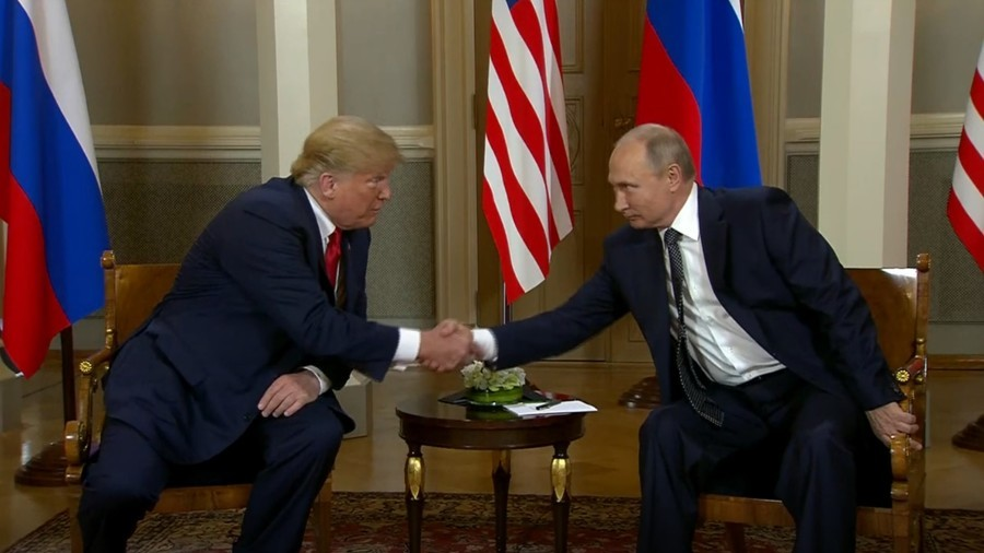 Putin & Trump shake hands ahead of face-to-face summit in Helsinki