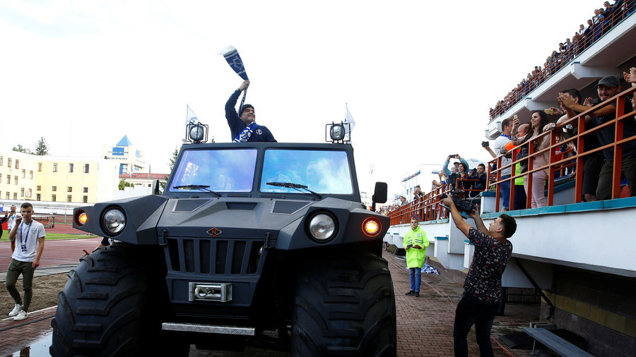 Maradona paraded in huge military vehicle to mark new role in Belarus