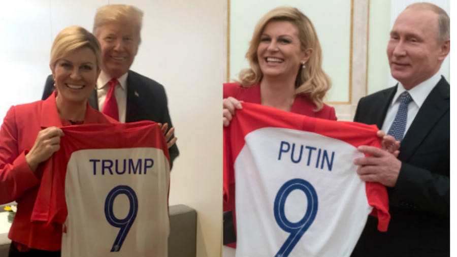 Coincidence? Croatia's football-loving leader gave Putin and Trump identically-numbered jerseys
