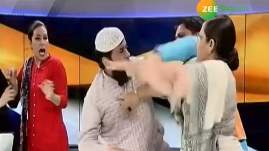 Indian Muslim cleric arrested after on-air scuffle with female activist over Islamic divorce (VIDEO)