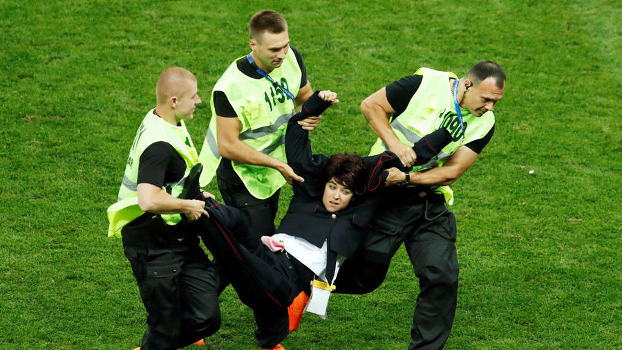 Pussy Riot members fined $24 after World Cup final pitch invasion