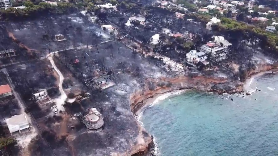 Wildfire drone footage: Incinerated landscape from Greek inferno laid bare (VIDEO)