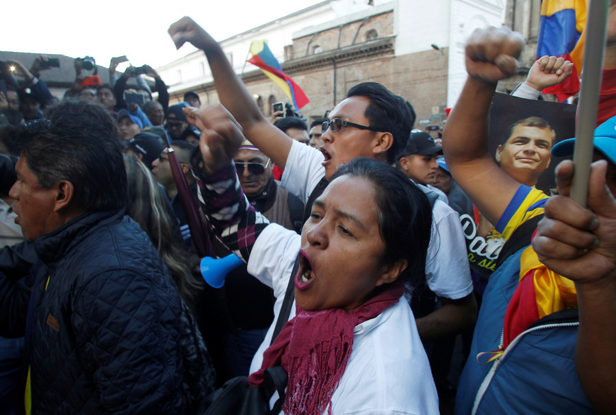 Ecuadorians rally to support ex-president Correa amid accusations he tried to kidnap opponent