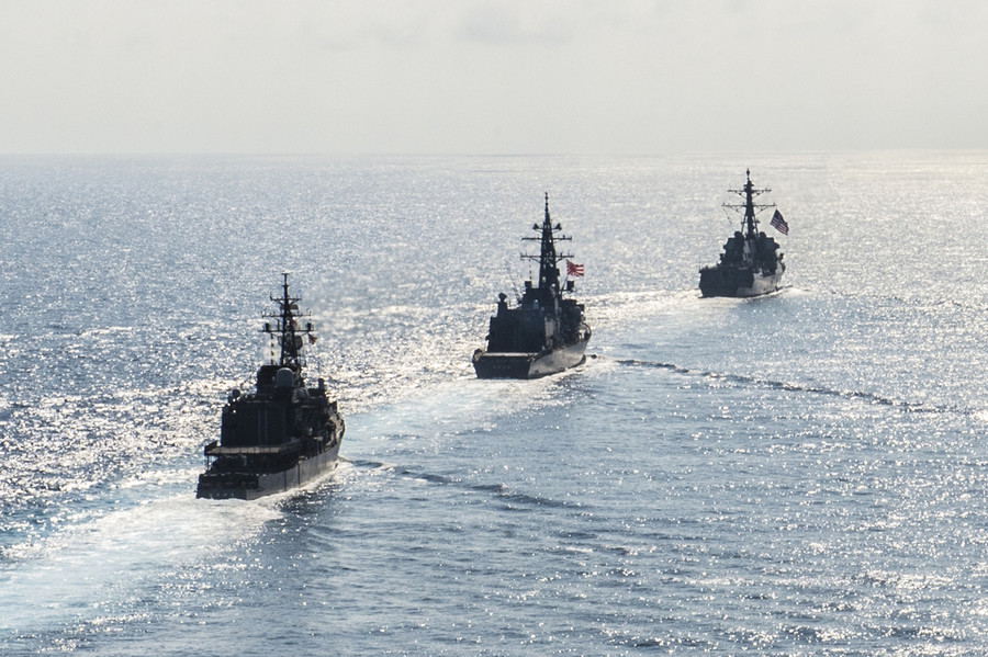 US warships sail through Taiwan Strait for first time in a year as China tariffs kick in