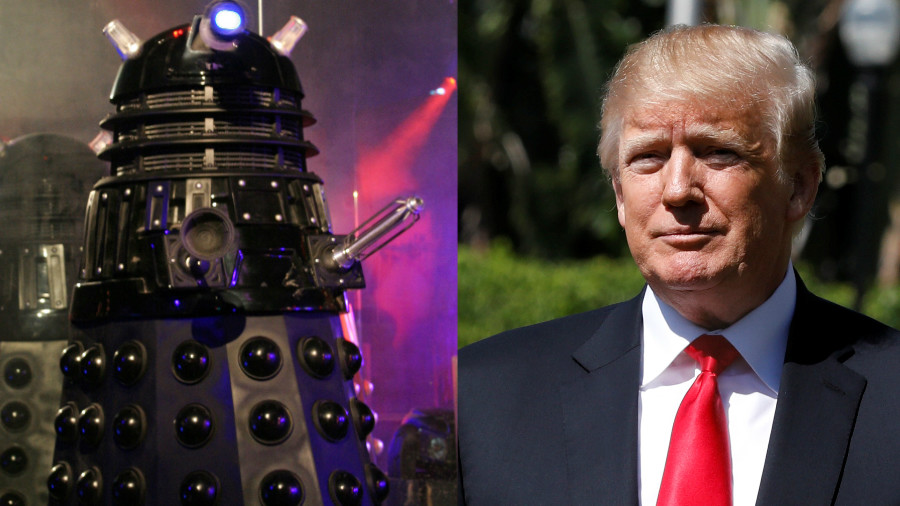 'We'll destroy the world':  Dalek Trump & 'CyberMay' hit London during mass protest (VIDEOS)
