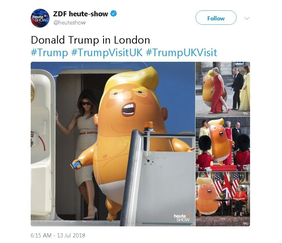German public TV trolls Trump with baby balloon collages