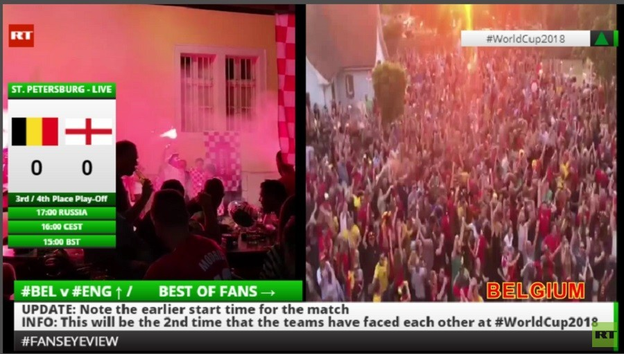 WORLD CUP 2018 LIVE Best of England and Belgium fans #FansEyeView