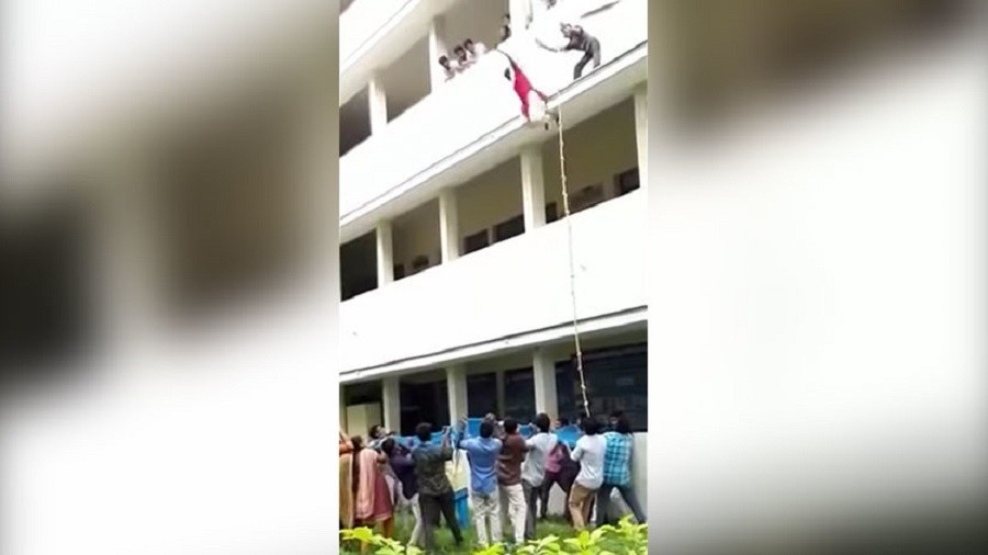 19yo Indian girl pushed to her death in disastrous college safety drill (GRAPHIC VIDEO)