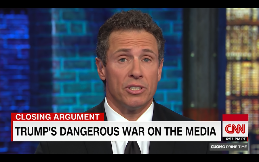 CNN host Cuomo says Trump's aversion to 'fake news media' means he hates America