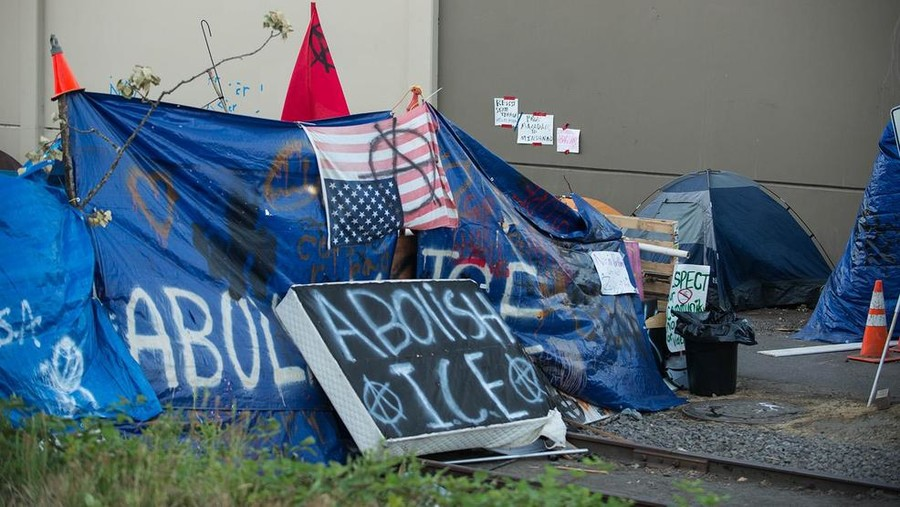 Portland police clear out 'Occupy ICE' camp after protesters dig in for five weeks