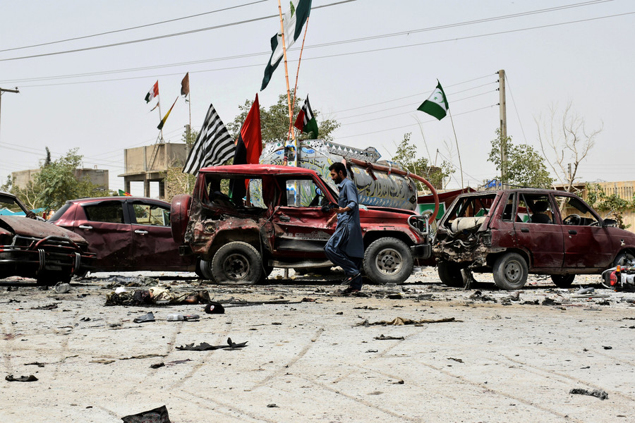 Dozens killed in Pakistan suicide bombing as election day marred by violence