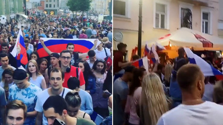 Russians flood the streets to celebrate historic World Cup win over Spain (VIDEOS)