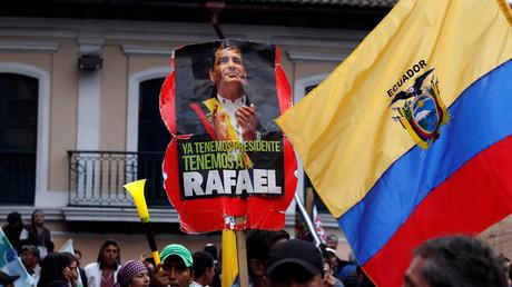 Pro-Rafael Correa rally in Quito, Ecuador April 10, 2018 © Daniel Tapia